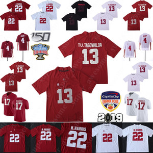 Wholesale 150th Anniversary Alabama Crimson Tide 13 Tua Tagovailoa Jersey 4 Jerry Jeudy Najee Harris Jaylen Waddle Tu. Tagovailoa Football Jerseys Red