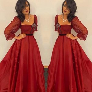 Wholesale Arabic Style Dark Red Organza A Line Prom Party Dresses With Long Sleeves Plus Size Sweep Train Custom Made Evening Special Occasion Wears