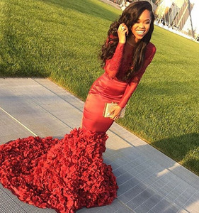Wholesale Sexy African Mermaid Red Prom Dresses Long Lace Appliqued Big Flower Train Black Girls Prom Dress Formal Party Gowns