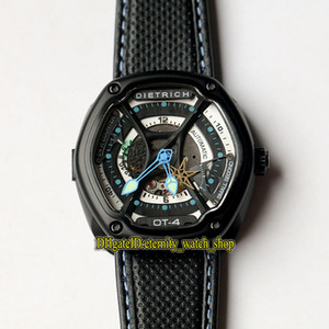 Wholesale men s watches for sale - Group buy High Quality Dietrich Organic Time Series OT Skeleton Blue Dial Miyota s Automatic Men Watch Black Case Leather Strap Sport Watches