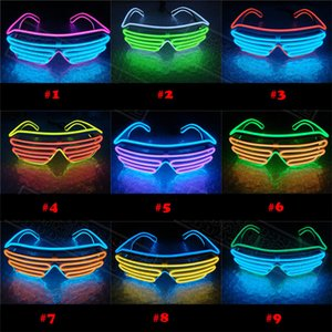 Led Party Glowing glasses EL Wire Fluorescent Flash Glass With Window Easter Graduation Birthday Bar Decorative Luminous Bar Eyewear