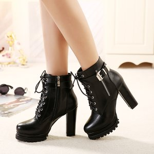 GOXPACER Women Ankle Boots Platform Buckle Metal Martin Casual Boots Fashion Shoes Round Toe All Match New Rivets Free Shipping