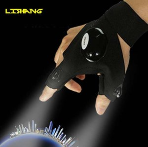 Wholesale Black Auto Repair Work Outdoors Fishing Survival Tool Creative Hiking LED Light Finger Lighting Glove light fishing gloves light