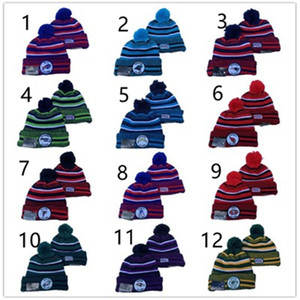Wholesale Fashion Winter American Football Cap Pompom Beanie caps Cuffed Knitted Rugby Sports Hat Women Men Striped ball Hat multicolor