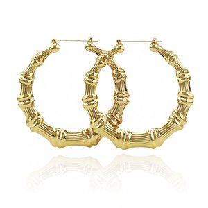 Wholesale Luxury Jewelry Multiple Shapes Ethnic Large Vintage Gold Plated Bamboo Hoop Earrings for Women