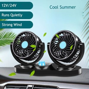 Wholesale Car Dual Fan Car Interior Accessories Degrees round Cooling Accessories Swing Fan Ventilation Board Summer V V