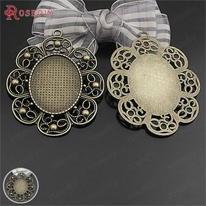 Wholesale 6PCS Inside x22MM x31MM Antique Bronze Zinc Alloy Oval Base Trays Bezels Cabochon Beads Settings Cameo Settings Pendants