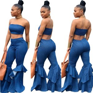Wholesale Denim Two Piece Set Summer Strapless Crop Top and Bell Bottom Jeans Flare Pants Suit Matching Sets Outfits Sexy Tracksuit LJJA2607-11