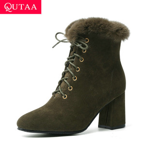 Wholesale QUTAA Scrub Comfort Warm Fur Autumn Winter Women Shoes Square High Heel Round Toe Lace Up Casual Ankle Boots Size