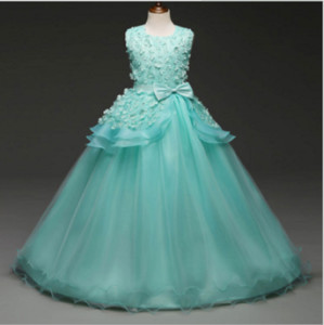 Hot new big children's wedding dress rose princess dress girls dress show children's wear,Girl costume