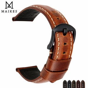 Wholesale Maikes Watch Bands mm mm mm mm Vintage Oil Wax Leather Watch Strap Watch Accessories Watchband For Panerai Breitling Y19052301