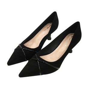 ingrosso tacchi a spillo-Donna Suede Belle con scarpe a punta Primavera Autunno modelli esplosione New Simple Kitten Heels Professional Office Shoes Woman