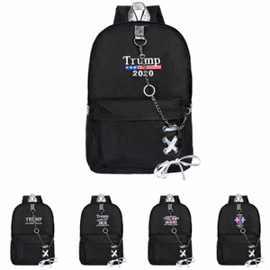 Trump 2020 Backpack with chains USA Flags School Bags Teenage Girls Women Book Bag Youth Leisure College Backpacks LJJA3615-13