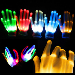 Wholesale HaoXin LED Flashing Gloves Glow Light Up Finger Lighting Dance Party Decoration Glow Party Supplies Choreography Props Christmas