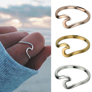 Wholesale New Beach ocean wave Rings For Women Minimalist Korean Style Gold Silver Rose Gold surge wedding finger Rings Fashion Jewelry in Bulk