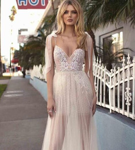 Wholesale Berta Boho A-line Wedding Dresses Cheap Spaghetti Straps Sleeveless Lace Appliques Backless Plus Size Wedding Bridal Gowns 2019