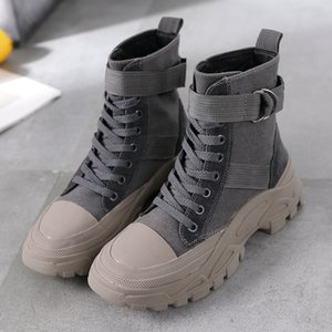 Wholesale Mhysa Boots Female Winter New Fashion High top Lace up Casual Female Ankle Boots Round Head Thick soled Motorcycle