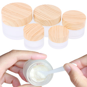Frosted Glass Jar Skin Care Eye Cream Jars Pot Refillable Bottle Cosmetic Container With Wood Grain Lid 5g 10g 15g 30g 50g