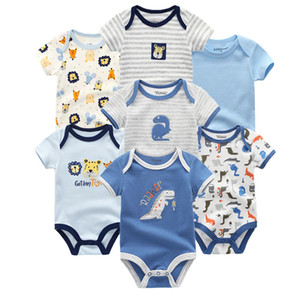 Wholesale 7 Summer Short Sleeve Rompers Cotton Onesies Set Ropa Bebe Baby Boy Girl Clothes Q190520