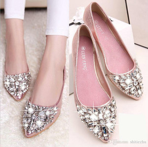 Wholesale 2018 hot sell casual high fashion designer shoe bridal women Dress shoes woman leather flat crystal low heel wed shoe woman Silver pink