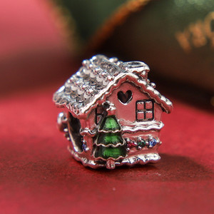 2019 NEW S925 Sterling Silver Christmas enamel CZ gingerbread House Charms Beads Fits European Pandora Jewelry DIY Bracelets Necklaces