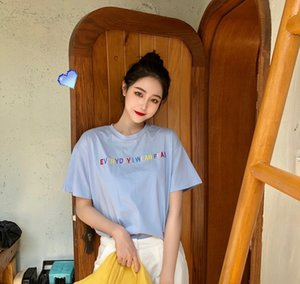 c708a18f8 2019 summer new cotton T-shirt female short-sleeved V-neck shirt Korean  Slim solid color t-shirt TX3560 white round neck L