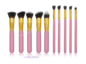 Wholesale LOSUNNY Wooden Handles Five Big Five Small Makeup Brush Set Eye Brush Foundation Brush Makeup Beauty Tools mink lashes
