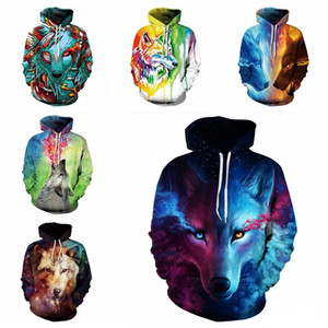 Men 3D Digital New Print zipper cardigan Male Long Sleeve Sweater Hooded Starry wolf Hoodies & Sweatshirts jacket Coat Thick Tops Clothing on Sale