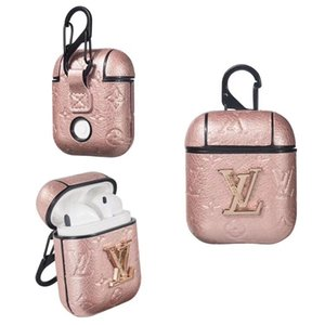 For Airpods Case Luxury PU Leather Cases Designer Brand earphone bag Protective Cover Hook Clasp Anti Lost Fashion Headset bag