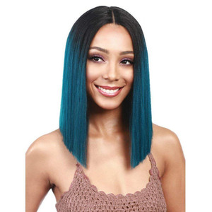 Ombre Green Human Hair Wigs Straight Full Lace Wig Virgin Peruvian Human Hair Lace Front Wig Two Tone Black Green