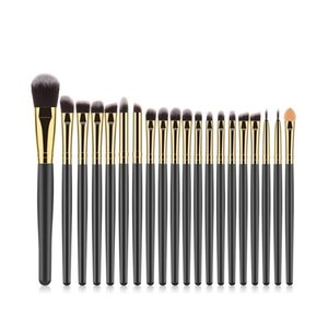 Wholesale 20Pcs Brown Gold Black Wooden Handle Brown Gold Tube Eye Makeup Brush Set Blooming Outline Tool To Create A Refined Look LR1
