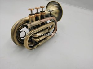 Wholesale winds instrument for sale - Group buy Popular Mini Pocket Trumpet Bb Flat Brass Material Antique copper Wind Instrument With Mouthpiece Gloves Carrying Case