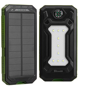 Wholesale Tollcuudda mAh Solar Power Bank Dual USB Outdoor Sports External Battery Pack Portable Charger With LED Lighting Compass