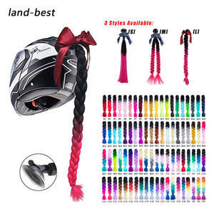 Wholesale Motorcycle Helmet Braids Woman Braids Wig For Motorbike Helmets Colors Twist Dual Pigtail Ponytail With Sucker Bow