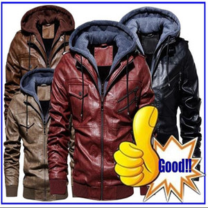 New autumn winter men's leather motorcycle jacket PU hooded jacket warm PU baseball jacket Large Anti-Leather European Size Men's leather on Sale