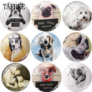 Wholesale TAFREE Cute Animal Dog Round Shape DIY Glass Cabohcon Art Photo Demo Settings Flat Back Making Findings For Bracelets Keychains