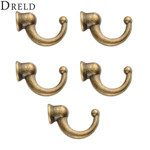 Hooks DRELD 5pcs Antique Door Hanger Hooks Small Wall Hanger for Wood Jewelry Box Bathroom Hat Keychain Coat Furniture Hardware +Screw on Sale