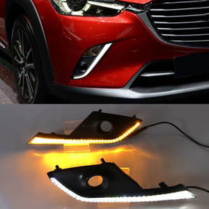 1 Pair Car DRL LED Daytime Running Light with Yellow Turn Signal Function For Mazda CX-3 CX3 2015 2016 2017 2018 2019 2020