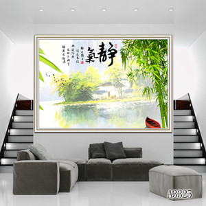 Wholesale ZYXIAO Poster and Print Performing Bamboo forest lake modern Oil Painting Canvas No Frame Wall Pictures for Living Room Home Decor A3325
