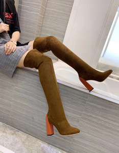 Wholesale Genuine leather over knee boots new elegant and slim gas sleeve boots with color matching thick heel and high heel elastic boots