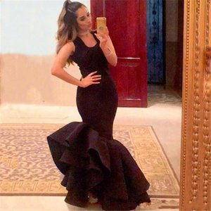 Wholesale 2019 Vintage Black Mermaid Prom Dresses Sleeveless Evening Party Gowns Trumpet Cheap Formal Dress