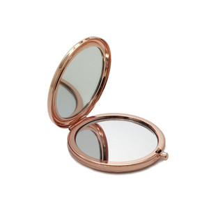 Double Side Pocket Makeup Mirror Metal Silver Gold Rose Gold Cosmetic Foldable Mirror Magnifying Beauty Tool HHA219