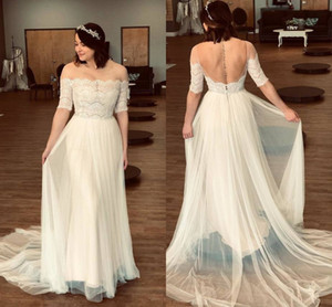 Fashion Off the shoulder Lace Bohemian Wedding Dresses Illusion Sleeves Tulle Backless Cheap Vestido De Novia Wedding dress Bridal Gowns on Sale