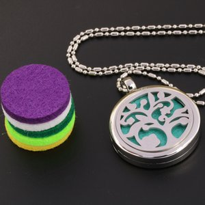 Hot Selling Essential Oil Diffuser Necklace Aromatherapy Diffuser Locket Pendant Set with 5 Color felt pads and 1PC chain free shipping