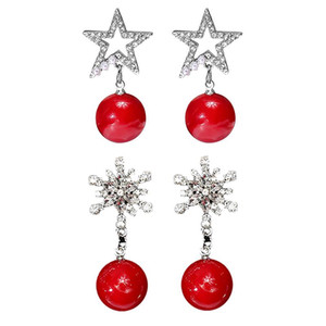 Wholesale New Year Gift Women Christmas Red Natural Stone Jewelry Silver Plated Round Ball Crystal Rhinestone Drop Earrings for Christmas HR