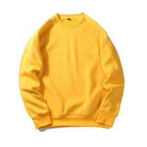 Wholesale 2018 Autumn Winter Clothes Fashion Yellow Sweatshirt Men Hoodies Solid Color Harajuku Europe Style Fleece O Neck Loose Pullover