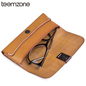 Wholesale teemzone Fashion Multifunction Genuine Leather Unisex Pencil Bag Glasses Case Pencil Box Hasp Money Coin Wallet Colors M173