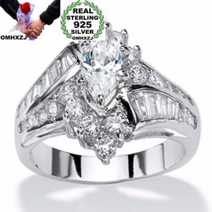 OMHXZJ Wholesale European Fashion Woman Man Party Wedding Gift Luxury Zircon 925 Sterling Silver 18KT Yellow Gold Ring RR370