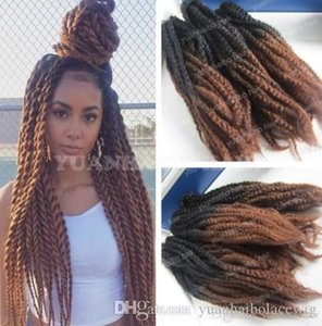 Wholesale 12 inch extensions hair synthetic for sale - Group buy 12 Packs Full Head Two Tone Marley Braid Hair inch Black Brown Ombre Synthetic Hair Extensions Kinky Twist Braiding Fast Express Shipping