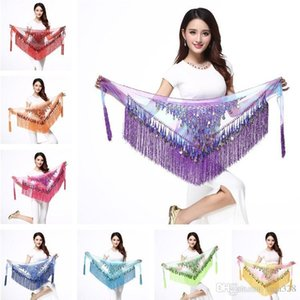 Belly dance belt Dancewear Triangle Hip Scarf Colorful Adjustable with Coins Belt Belly Dance Hip Scarf Belt Waist chain T2I333